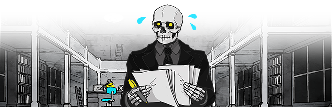 A well-dressed skeleton sweating while looking at paper